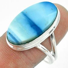 925 silver 14.26cts solitaire natural blue owyhee opal oval ring size 10 t54026