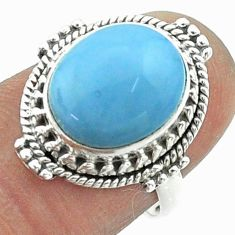 925 silver 5.10cts solitaire natural blue owyhee opal oval ring size 7 t55964