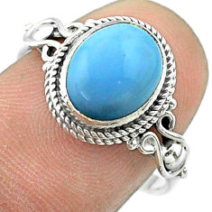 925 silver 3.91cts solitaire natural blue owyhee opal oval ring size 8 t57459