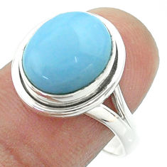 925 silver 5.16cts solitaire natural blue owyhee opal oval ring size 9 t55944