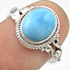 925 silver 3.93cts solitaire natural blue owyhee opal oval ring size 7.5 t57457