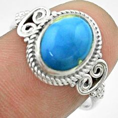 925 silver 3.99cts solitaire natural blue owyhee opal oval ring size 7.5 t57494