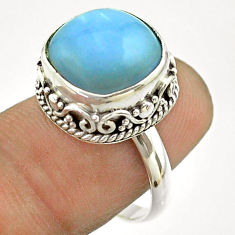 925 silver 6.56cts solitaire natural blue owyhee opal ring size 7.5 t55870