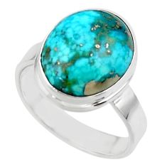 925 silver solitaire natural blue persian turquoise pyrite ring size 8.5 r49206