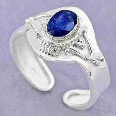 925 silver 1.40cts solitaire natural blue sapphire adjustable ring size 9 t32144