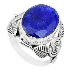 925 silver 10.47cts solitaire natural blue sapphire oval ring size 7.5 t10403