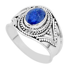 925 silver 1.94cts solitaire natural blue sapphire oval ring size 7.5 t5154