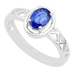 925 silver 1.53cts solitaire natural blue sapphire oval ring size 8.5 t5210