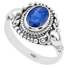925 silver 2.19cts solitaire natural blue sapphire oval ring size 7.5 t5314