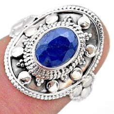925 silver 1.99cts solitaire natural blue sapphire oval shape ring size 6 t46663