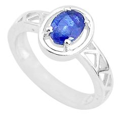 925 silver 1.57cts solitaire natural blue sapphire oval shape ring size 6 t5213