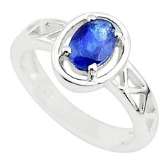 925 silver 1.53cts solitaire natural blue sapphire oval shape ring size 6 t5219