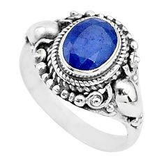 925 silver 2.29cts solitaire natural blue sapphire oval shape ring size 6 t5335