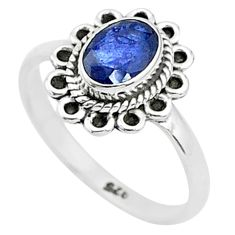 925 silver 1.62cts solitaire natural blue sapphire oval shape ring size 6 t5460