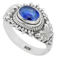 925 silver 1.46cts solitaire natural blue sapphire oval shape ring size 6 t5497