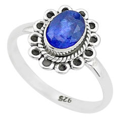 925 silver 1.58cts solitaire natural blue sapphire oval shape ring size 6 t5500