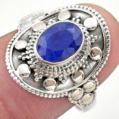 925 silver 1.84cts solitaire natural blue sapphire oval shape ring size 7 t46685