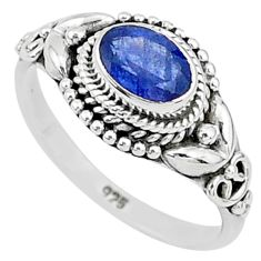 925 silver 1.45cts solitaire natural blue sapphire oval shape ring size 7 t5476