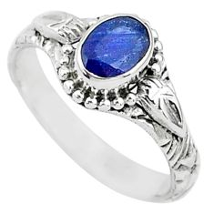 925 silver 1.54cts solitaire natural blue sapphire oval shape ring size 7 t5490