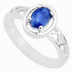 925 silver 1.57cts solitaire natural blue sapphire oval shape ring size 8 t5204