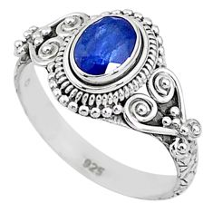 925 silver 1.54cts solitaire natural blue sapphire oval shape ring size 8 t5470