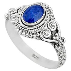 925 silver 1.56cts solitaire natural blue sapphire oval shape ring size 9 t5454