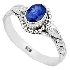 925 silver 1.47cts solitaire natural blue sapphire oval shape ring size 9 t5464