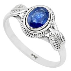 925 silver 1.47cts solitaire natural blue sapphire oval shape ring size 9 t5484