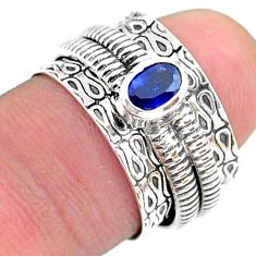 925 silver 0.65cts solitaire natural blue sapphire spinner ring size 6 t31725