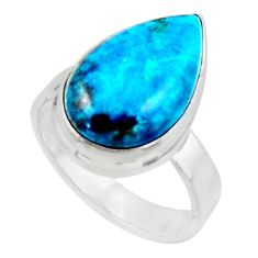 925 silver 7.33cts solitaire natural blue shattuckite pear ring size 6.5 r50654