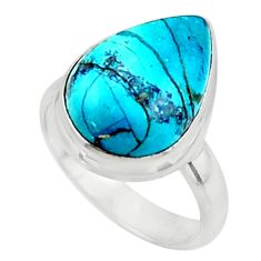 925 silver 6.80cts solitaire natural blue shattuckite pear ring size 6 r50651