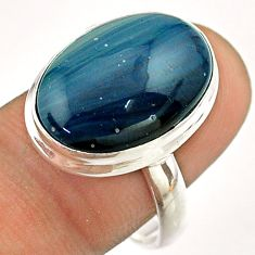 925 silver 12.56cts solitaire natural blue swedish slag oval ring size 9 t54523