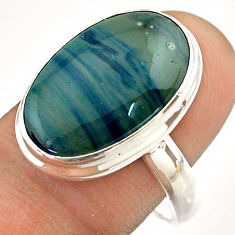 925 silver 12.03cts solitaire natural blue swedish slag oval ring size 9 t54527