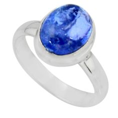 925 silver 4.23cts solitaire natural blue tanzanite ring jewelry size 6.5 r51199