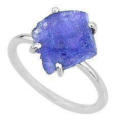 925 silver 6.19cts solitaire natural blue tanzanite raw ring size 7 t6836