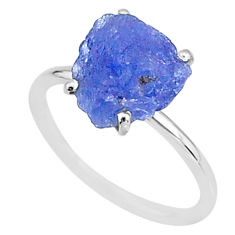 925 silver 5.80cts solitaire natural blue tanzanite raw ring size 7 t6845