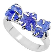 925 silver 7.68cts solitaire natural blue tanzanite raw ring size 8 t17236