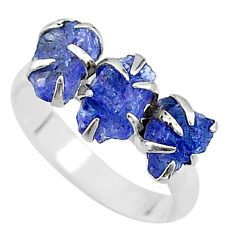 925 silver 8.12cts solitaire natural blue tanzanite raw ring size 8 t17239