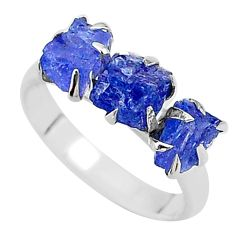 925 silver 7.66cts solitaire natural blue tanzanite raw ring size 8 t17240