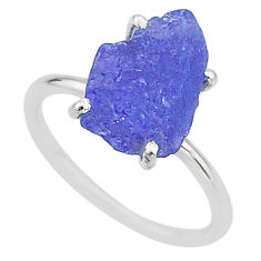 925 silver 6.19cts solitaire natural blue tanzanite raw ring size 8 t6826