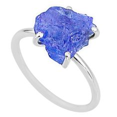 925 silver 5.88cts solitaire natural blue tanzanite raw ring size 8 t6851