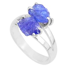 925 silver 7.64cts solitaire natural blue tanzanite raw ring size 8 t6928