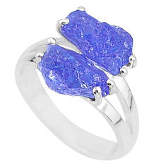 925 silver 9.18cts solitaire natural blue tanzanite raw ring size 8 t6935