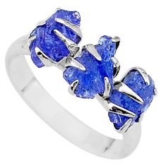 925 silver 8.12cts solitaire natural blue tanzanite raw ring size 9 t17227