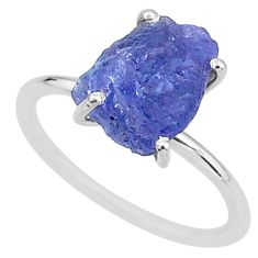 925 silver 6.68cts solitaire natural blue tanzanite raw ring size 9 t6828
