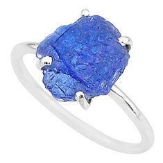 925 silver 6.19cts solitaire natural blue tanzanite raw ring size 9 t6833