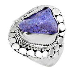 925 silver 7.22cts solitaire natural blue tanzanite raw ring size 7.5 t17524