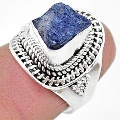 925 silver 4.38cts solitaire natural blue tanzanite raw ring size 6.5 t17776