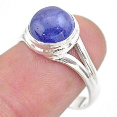925 silver 4.64cts solitaire natural blue tanzanite round ring size 7.5 t44723