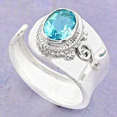 925 silver 2.12cts solitaire natural blue topaz adjustable ring size 7.5 t32196